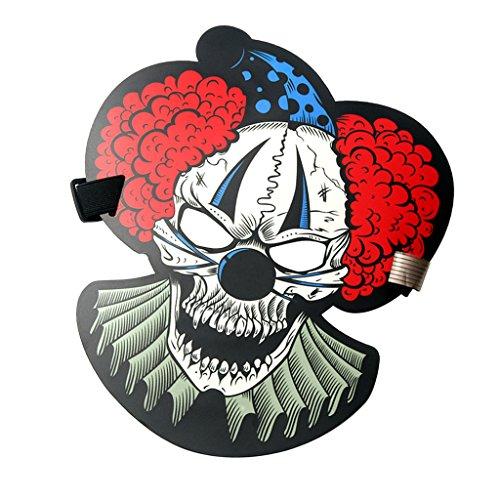 (D DOLITY Erwachsene Grusel Clown Maske Erschreckend LED leuchten Maske Soundaktive Maske Gruselmaske Faschingsmaske Halloween Karbeval Mottoparty Kostüm Maske - 02)