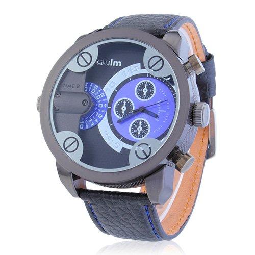 CHIC*MALL Oulm Herren Zwei Zifferblätter Deep Blue -Armbanduhr blau