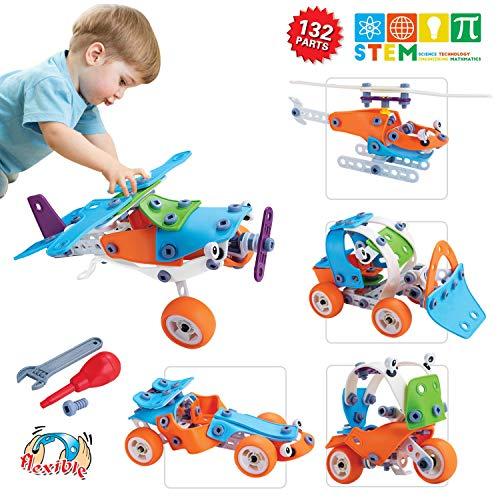 ACTRINIC 132 Stücke Engineering STEM Pädagogisches Bausteinspielzeug DIY Baukasten Sieplzeug Set Sieplzeug ab 4 5 6 7 8 9 10 Jahre Junge Jungen und Mädchen