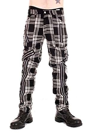 "Tiger of London Black and White Tartan Zip Bondage Pants - 28"""