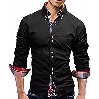 Hombres blusa,Sonnena ❤️ ❤️ ❤️ Camisa a cuadros de los hombres Camisa de los hombres de negocios de manga larga Slim Fit Casual y moda ropa de Actividades al aire libre (NEGRO, L2)