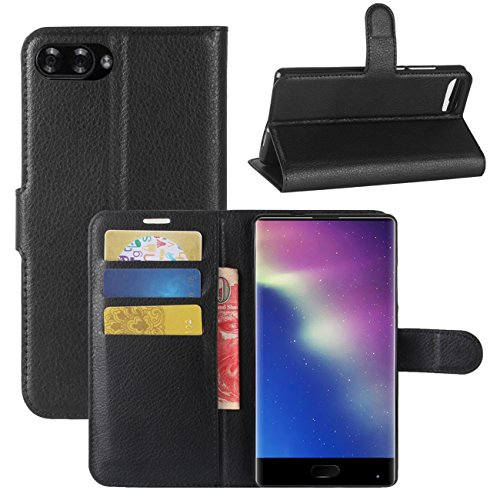 HualuBro Doogee Mix Hülle, [All Around Schutz] Premium PU Leder Leather Wallet Handy Tasche Schutzhülle Case Flip Cover mit Karten Slot für DOOGEE Mix 5.5 Inch 4G Smartphone (Schwarz)