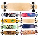 FunTomia® Longboard Skateboard Drop Through Cruiser Komplettboard mit Mach1® ABEC-11 High Speed Kugellager T-Tool mit und ohne LED Rollen Flex 1