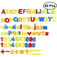 YeahiBaby 80PCS Insights Educativos Letra Magnética y Números Alfabeto Refrigerador Imanes de Nevera Niños Juguetes Educativos Tempranos (Mezcla de Colores)