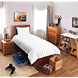 Sky Tex Plain White Color Cotton Satin 210 TC Striped Single Bed Sheet With 1 Pillow Cover
