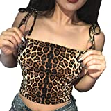 IMJONO.Mode Womens Casual Tank Tops Leopardenmuster Weste Halter Bluse (Mehrfarbig,Large)