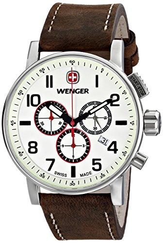 Wenger 011243105 - Reloj de pulsera hombre, piel, color marrón