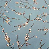 Stoff Meterware Baumwolle blau Kirschblüten Kirsche Zweige