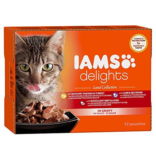 Iams Delights Land Collection, Nassfutter für erwachsene Katzen mit verschiedenen Fleisch-Sorten in Sauce, Multibox mit 12 Frischebeuteln (12 x 85 g) (Katze Fleisch)