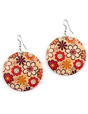 Idin Ohrhänger rot und weiß Liebenswürdig, Blumen Holz Runde Disc Baumeln Ohrringe (Länge: 7cm, Anhänger Durchmesser...