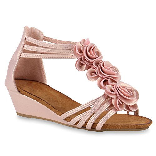 Bequeme Keilsandaletten Strass Glitzer Sandaletten WedgesSommer LackBlumen Keilabsatz Sandalen Schuhe 141142 Rosa Avion 38 Flandell (Rosa Sandalen Abend)