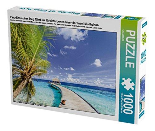 Preisvergleich Produktbild Paradiesischer Steg führt ins türkisfarbenen Meer der Insel Mudhdhoo 1000 Teile Puzzle quer: Insel Mudhdhoo, Malediven, Indischer Ozean (CALVENDO Orte)
