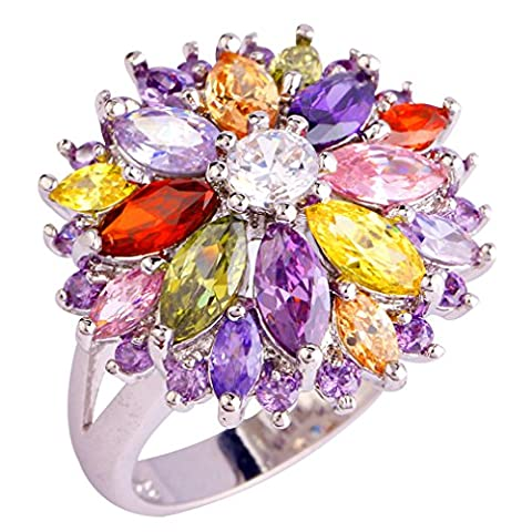 YAZILIND Wedding Colorful Flower Stainless Steel Band Anniversary Women Ring Size7