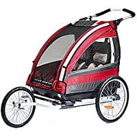 Susulv-baby 3-in-1 Double 2 Seat Bicycle Bike Trailer Jogger Stroller for Kids Children Foldable Collapsible w/Pivot Front Wheel Converts to Stroller/Jogger (Color : Red, Size : Free size)