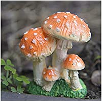 JwlqAy Exterior Interior Miniature Mushrooms Home Garden Micro Decoración de Paisaje Plant Pots Bonsai Craft Adornos (Naranja)