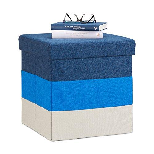 Relaxdays 10022866_469 Pouf Imbottito con Contenitore, a Strisce, Colorato, Pieghevole, HxLxP: 38 x 38 x 38 cm, Bianco-Blu