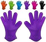 Belmalia 2 guanti da forno in silicone per cucina e griglia, kit, coppia, presine, guanti da forno Lilla Viola