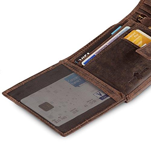 Geldbörse für Herren aus Leder mit 100% Zufriedenheitsgarantie | Geldbeutel / Portemonnaie in Geschenkbox | Geschenke für Männer | Wallet / Portmonee / Brieftasche im Querformat - BRAUN - 5