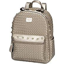 Señoras bolso ocio mini y mini mochila,Dorado,tamaño 30x26x12cm.