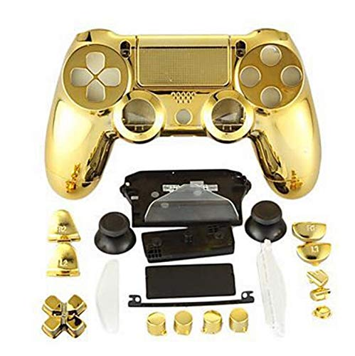 Komplettes Set Schutzgehäuse Gehäuse Tasten Cover Case für PS4 für Playstation 4 DualShock 4 Wireless Controller Chrom Gold - 4 Gehäuse Playstation