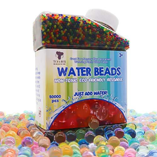 TOAOB 50000pcs Wasserperlen Aqualinos Perlen Gelperlen Wachsende Kristallboden mit Abgefüllt 1.2cm Größe für Wasserballons Partei Sensorische und als Deko für Blumenvase