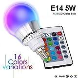 Ampoules de couleur E14 5W RGBW LED Ampoules Dimmable 16 changement de couleur Lampe...