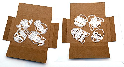 Star Wars Cookie Cutters x 8 BB8, Chewbacca, R2D2, C3PO, Millennium Falcon, Yoda, Storm Trooper and Darth Vader by Your 3D