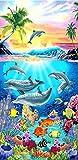 Strand Handtücher Dolphin Print Badetuch Extra großer Mikrofaser für Erwachsene Kinder 75x 150cm ideal für Schwimmen Reisen Yoga Sport Camping Solarium (Muster 3) Dolphin With Sea
