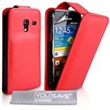 YouSave Flip Case for Samsung Galaxy Ace+ Red Faux Leather [SA-EA01-Z539]