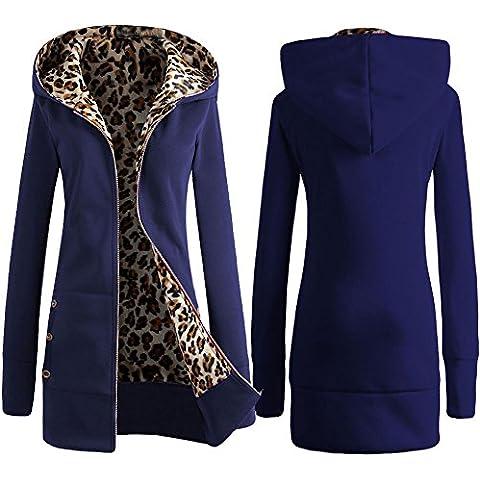 Casual señoras leopardo con capucha perchero de pared de manga larga, azul, XL