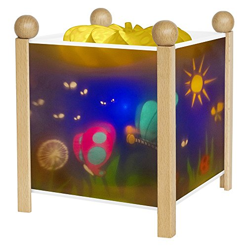 TROUSSELIER - Les Papillons - Veilleuse - Lanterne Magique - Idéal Cadeau de Naissance - Dessin animé - Point de Lumière rassurant - Couleur Bois Naturel - Ampoule 12V 10W inclue - Prise Européenne