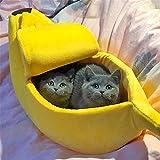 Luckhome - Nido para Mascota Suave, no tóxico, Transpirable, cálido, Cama para Mascotas pequeñas, Forma de plátano, Suave y cálido, Transpirable, Cama para Gato o Banana
