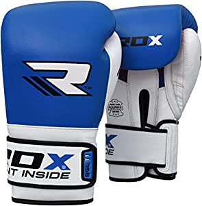 RDX Boxhandschuhe Muay Thai Boxsack Kickboxen Sparring Training Sandsack Rindsleder Boxing Gloves, Blau, 10 oz