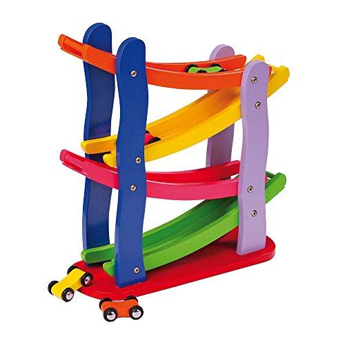 Preisvergleich Produktbild Rennbahn im Kaskadenstil aus Holz, vier Etagen, mit vier Holzautos, fasziniert die Kinder