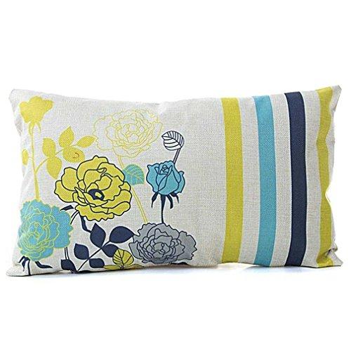 Federe cuscini,fittingran liquidazione lino cuscino federa rettangolare moda classica divano sedile cuscino decorativo tiro copertura caso cuscino (b)