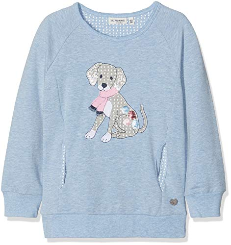 SALT AND PEPPER Mädchen Sweat Good Times Uni Hund Sweatshirt, Blau (Sky Melange 414), 104 -