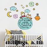 kina R00370 Adesivo murale per Bambini Wall Art - Il Piccolo Principe e la Volpe sul Pianeta - Misure 90x40 cm - Decorazione Parete, Adesivi per Muro, Carta da Parati