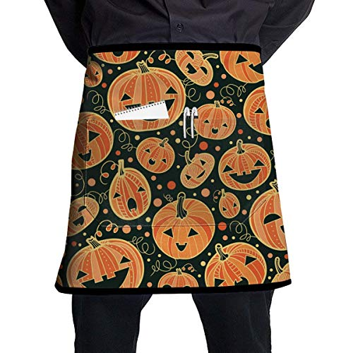 MSGDF Soft Durable 100% Polyester Waterproof Kitchen Bib Apron Pockets Waist Apron Kitchen Cooking Restaurant Bistro Half Aprons for Men Woman - Pumpkin Patterns -