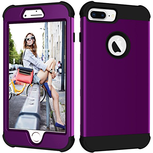 iPhone 8 Plus Fall, iPhone 7 Plus Case, nokea Heavy Duty 3 in 1 Hybrid stoßfest Hard PC Cover Soft Silikon Gummi Bumper Schutzhülle für iPhone 8 Plus/7 Plus/6S Plus/6 Plus 14 cm, Violett/Schwarz (Iphone 6 Fall Hybrid Zebra)