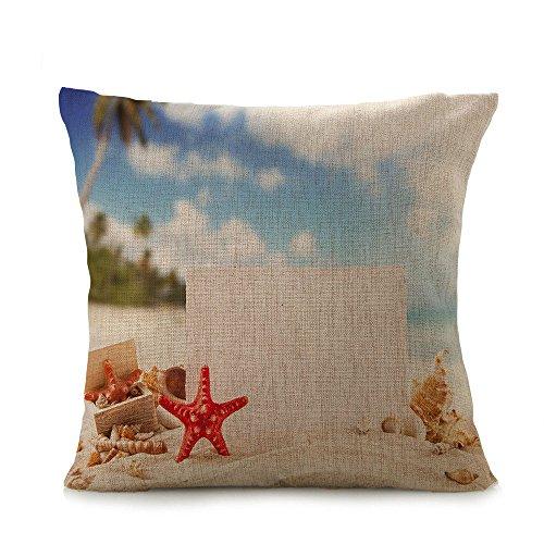 Ginli cuscino di lino copertura, mare spiaggia stampa toss federe cuscino custodia nascosta chiusura a zip