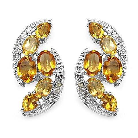 Sterling Silver Citrine Ovale Cut Top Boucles d'oreilles en 6.72 Carats pour les femmes