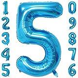 40-Zoll 0-9 in Blau Nummer Foil Ballons Helium Zahlenballon Luftballon Riesenzahl Party Hochzeit Kindergeburtstag Geburtstag (Number 5)