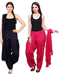 Fashion Store Women Cotton Patiala Salwar With Dupatta Combo Of 2(Free Size Black & Pink )