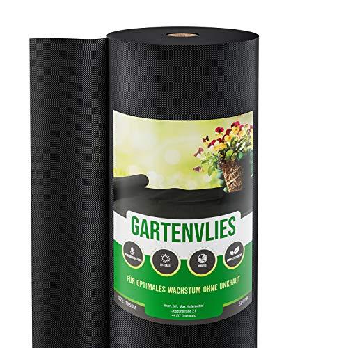 GardenGloss® 50m² Unkrautvlies Gartenvlies gegen Unkraut - Unkrautfolie Wasserdurchlässig - Reißfestes Unkrautflies 50g/m² - Hohe UV-Stabilisierung (50m x 1m, 1 Rolle)