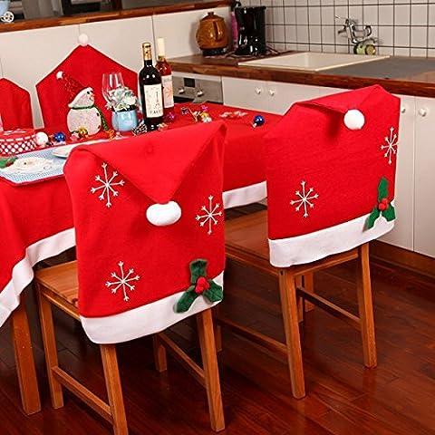 [ Kostenlose Lieferung - 7-12 Tage] Weihnachtsschneeflocke Red Hat Stuhl Abdeckung Küche Abendessen Sitzrückseiten Cover Home Partei Dekoration BML® // Christmas Snowflake Red Hat Chair Cover Kitchen