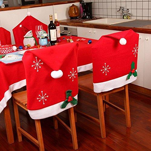 Ology(R)- natale il simbolo del fiocco di neve Red Hat sedia coperchio cena cucina rivestimento schienale sedile Home Decor Party