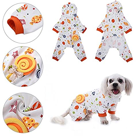 Pyjamas pour Chien Pet Cat Candy World Pattern Coton Vêtements de Sommeil Leisure & Durable Pet Home Wear Jumpsuit by Awhao L