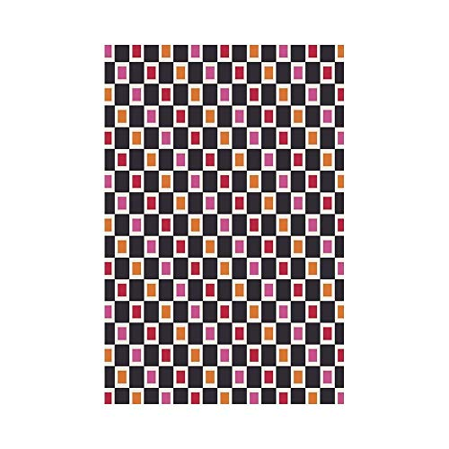 gthytjhv Geometric Grid Style Checkered Pattern with Cool Vivid Squares Geometrical Retro Motifs Decorative House Garden Family Event Decoration