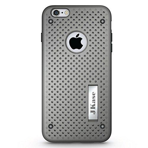 JKase - Série MESH- Protection Double Couche - Coque de Armure pour Apple iPhone 6S Plus / iPhone 6 Plus (Negro) Gris
