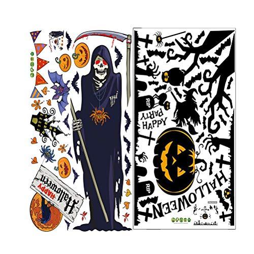 SUPVOX Kürbis Hexe Aufkleber schwarz Halloween Wandtattoo beängstigend Fenster Tapete für Bar Party Dekor 2St